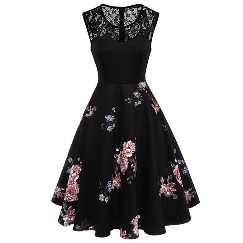 Расклешенное Платье С Цветочным Принтом И Кружевной Вставкой Image