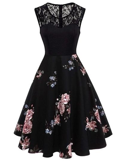 buy popular a51a4 65155 Vestito con stampa floreale con pizzo a contrasto