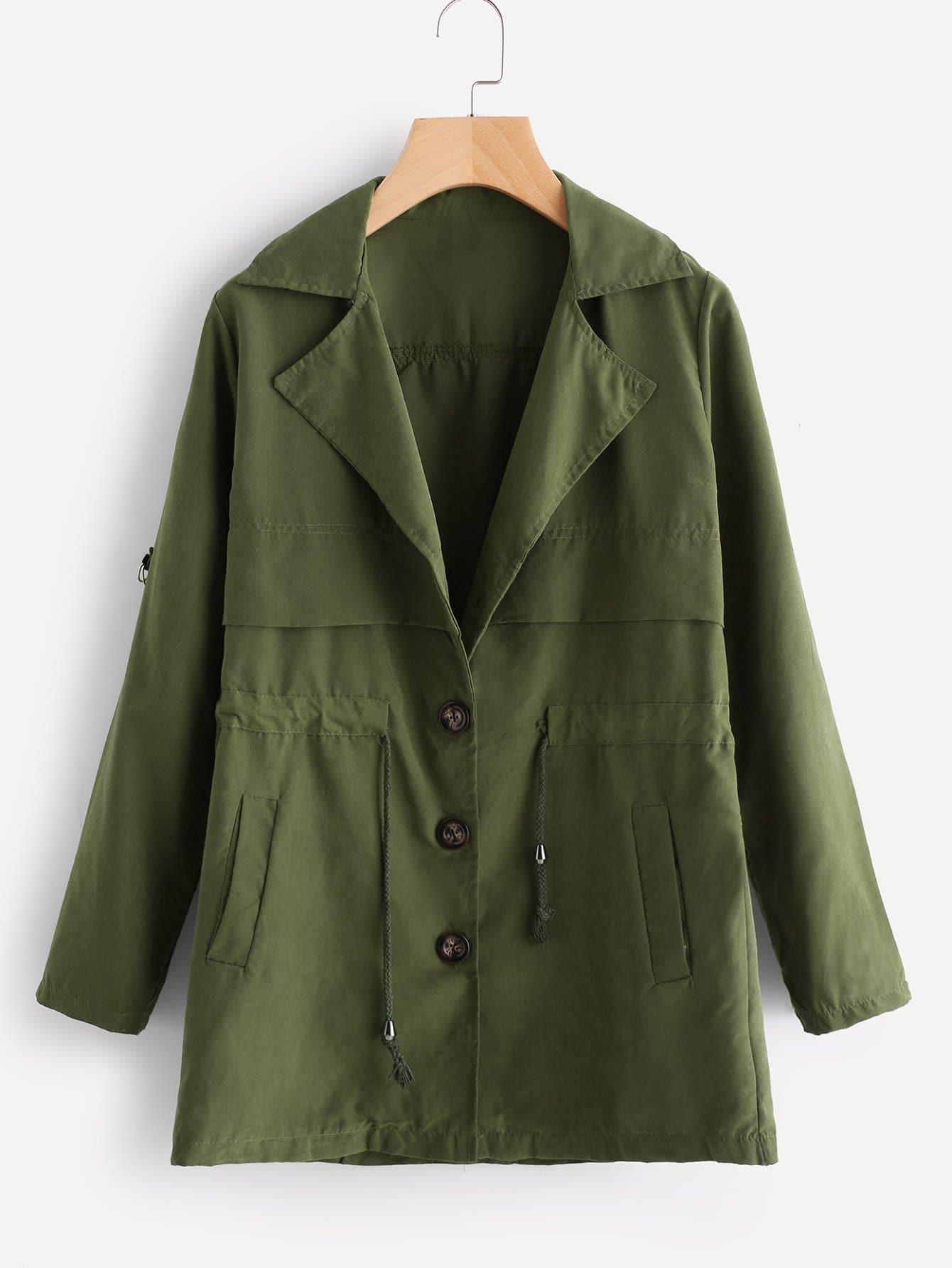 Купить Большое простое пальто с басоном эластичным, null, SheIn