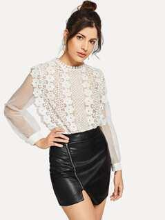 Sheer Mesh Sleeve Guipure Lace Bodice Bodysuit