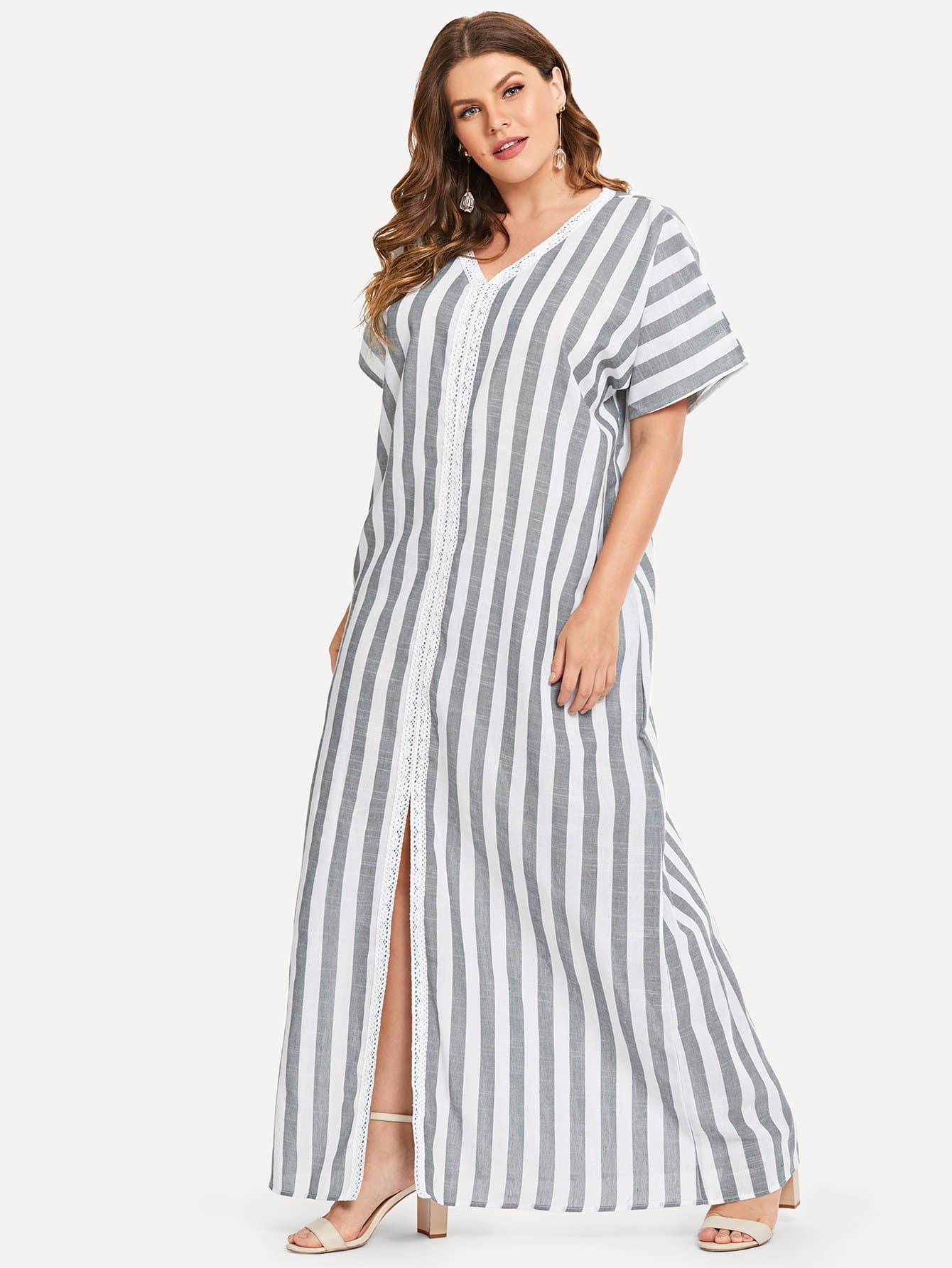 Купить Плюс Slit Hem Striped Maxi Dress, Isabela, SheIn