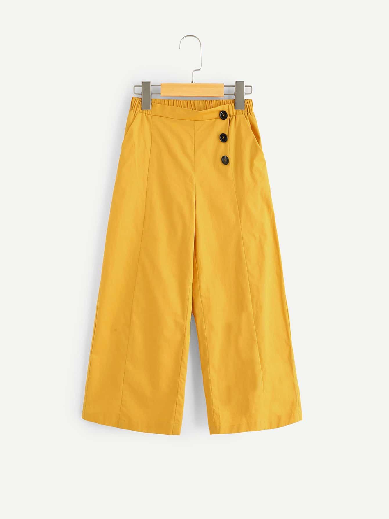 Купить Широкие ножные штаны с украшением пуговицы для девочки, null, SheIn