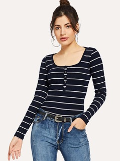 Scoop Neck Striped Henley Shirt