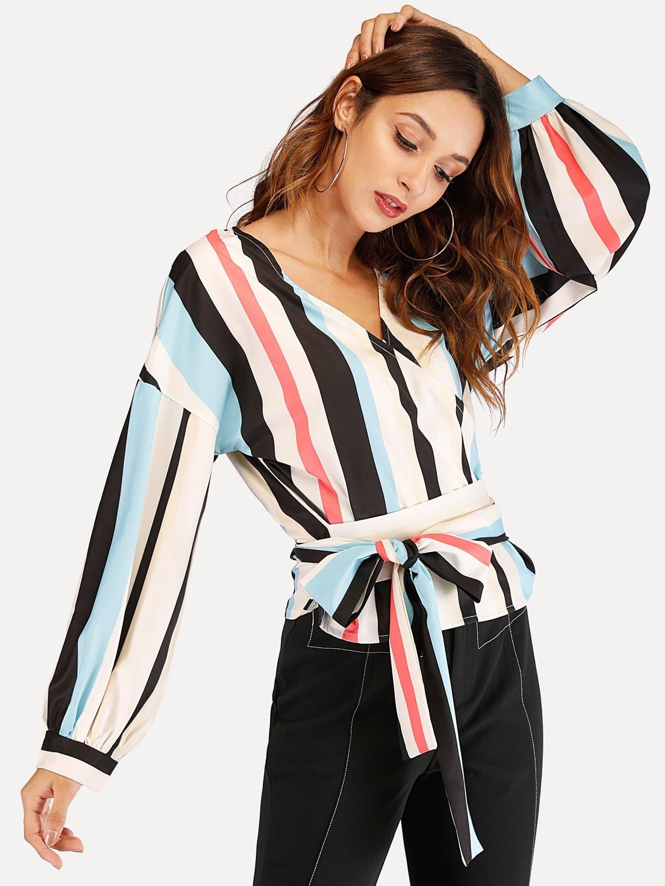 Купить Полосатая блуза с V-образным вырезом, Gabi B, SheIn