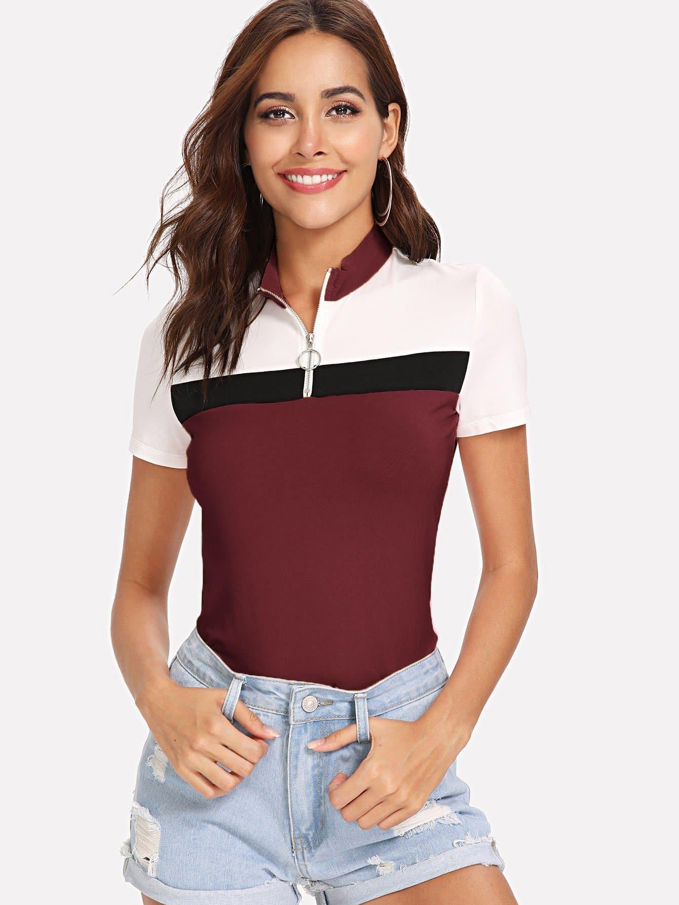 Купить Контрастная футболка с застёжкой молния, Giulia, SheIn