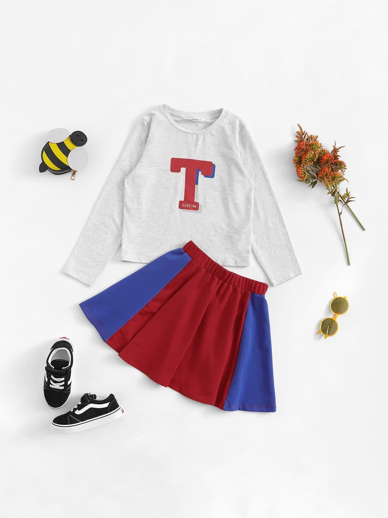 Купить Блузка с рисунком T и юбка клёш для девочки, null, SheIn