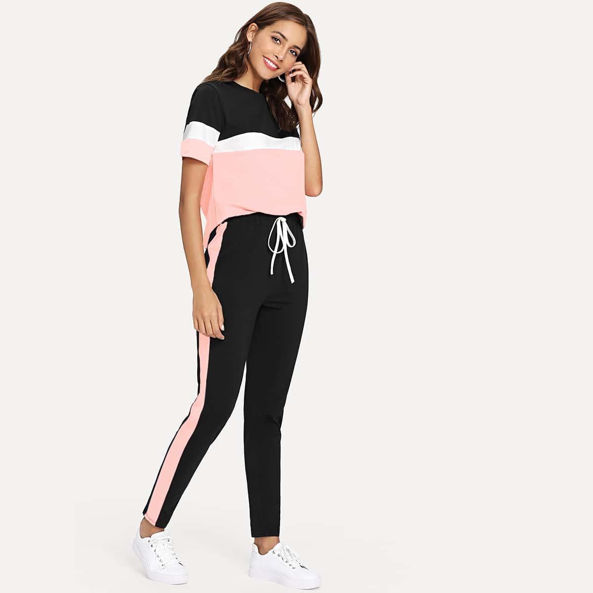 Контрастная футболка и брюки с кулиской от SHEIN
