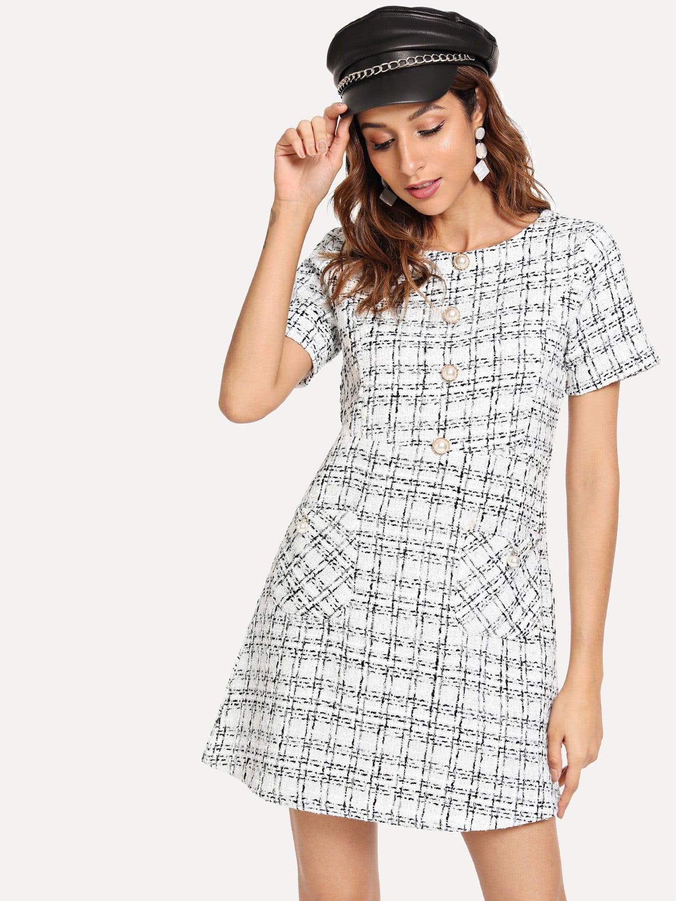 Купить Платье в клетку с украшением пуговицы, Gabi B, SheIn