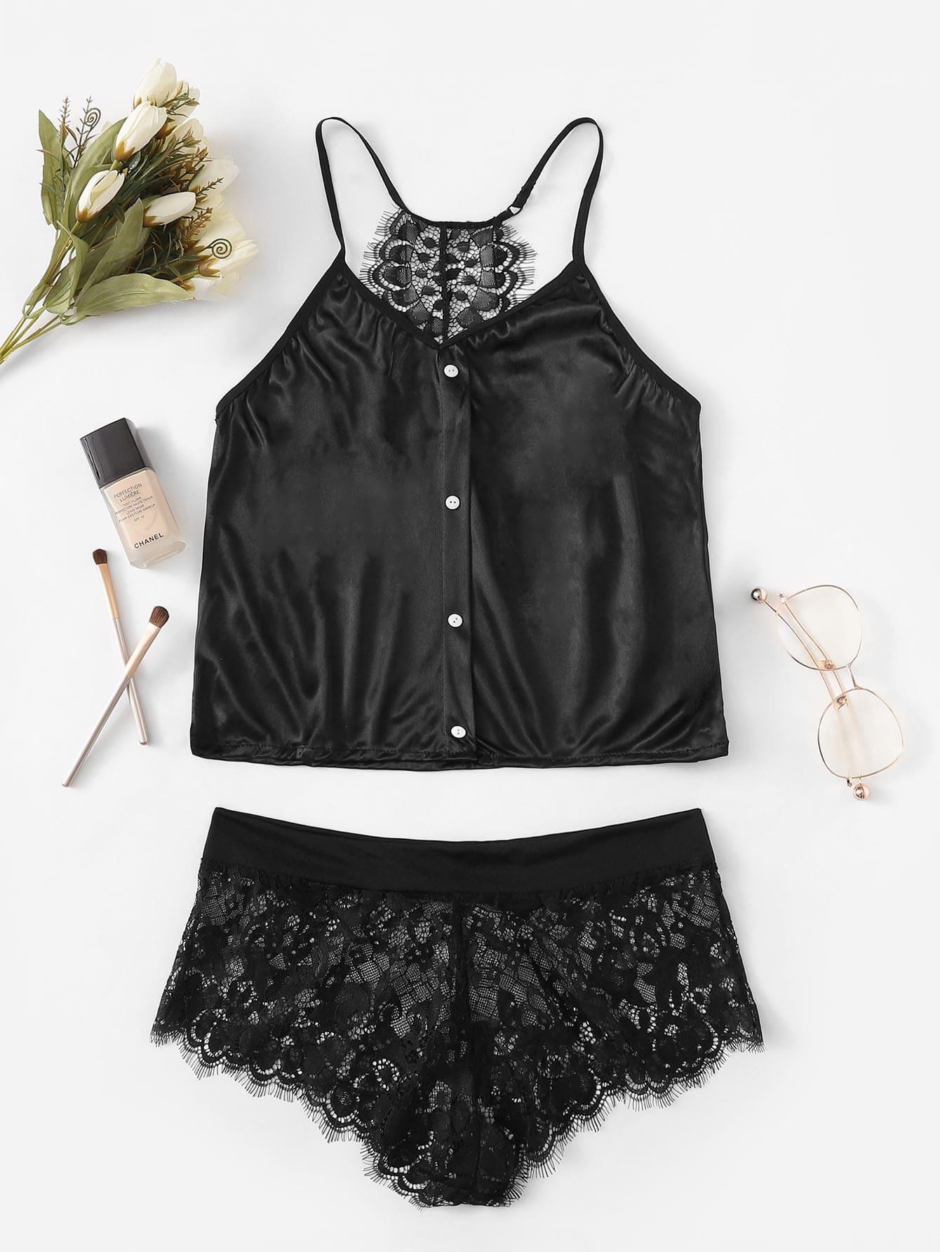 Eyelash Contrast Lace Cami Top & Panty