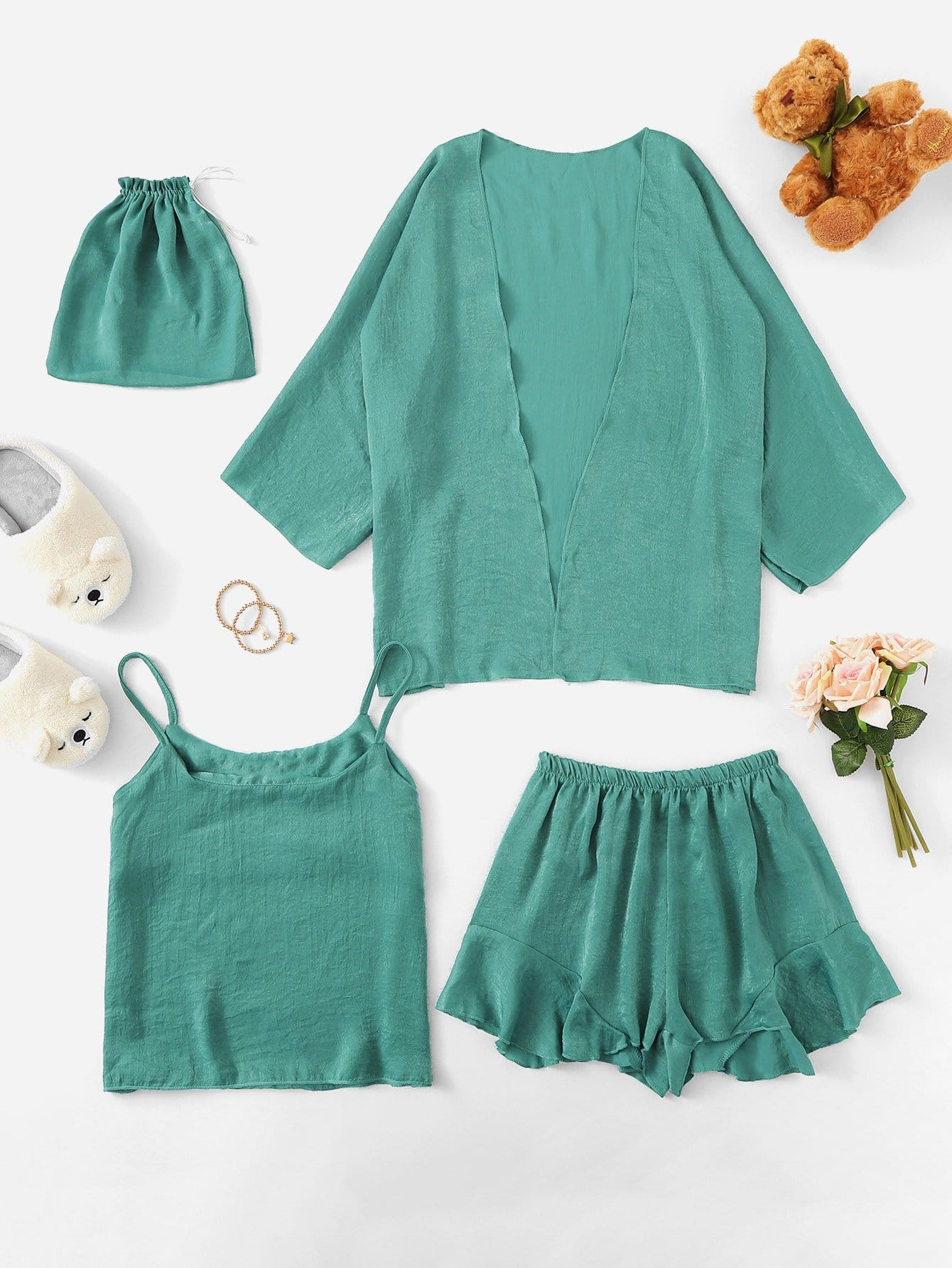 Plus 4Pcs Ruffle Hem Cami Pajama Set With Robe