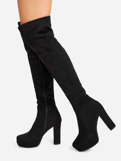 SheIn / Platform Block Heeled Thigh High Boots