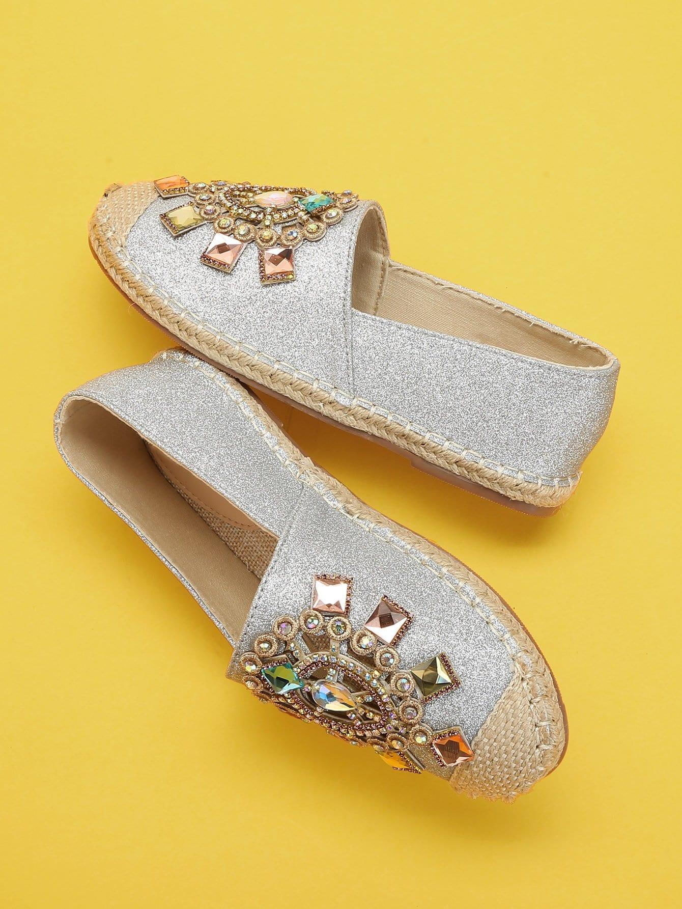 Купить Блестящие туфли на плоской подошве с украшением бриллиантов, null, SheIn