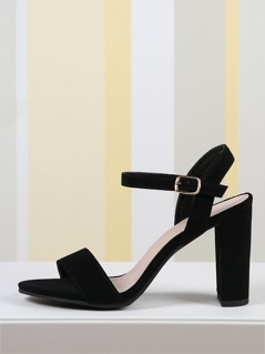 Faux Leather Chunky Heel Open Toe Ankle Strap Sandals