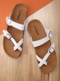 Faux Leather Strappy Double Buckle Slide Sandals