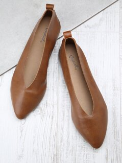 Faux Leather Slim Opening Ballerina Flats