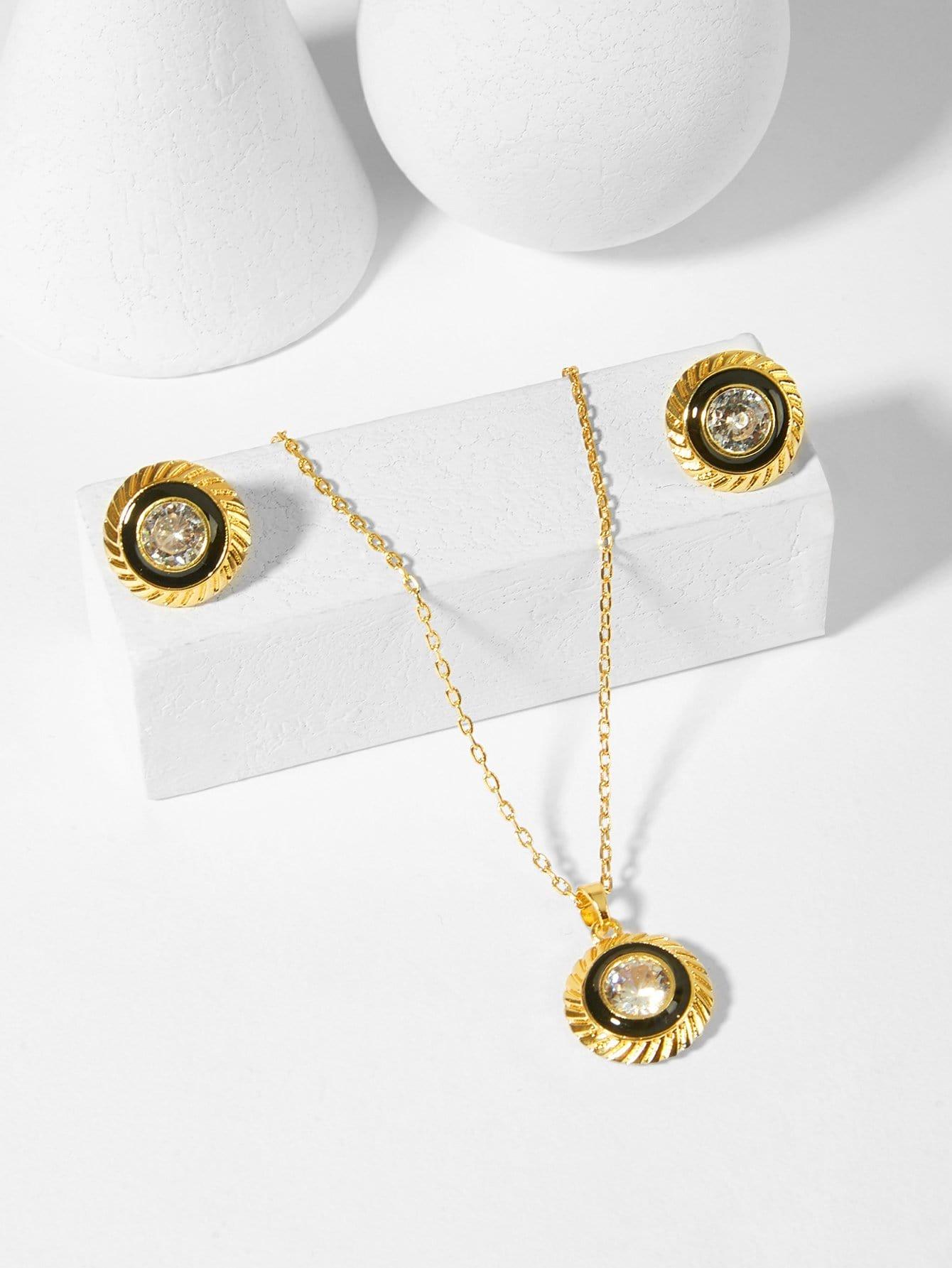 Купить Ожерелье с подвеской круга бриллиантов и серьги, null, SheIn