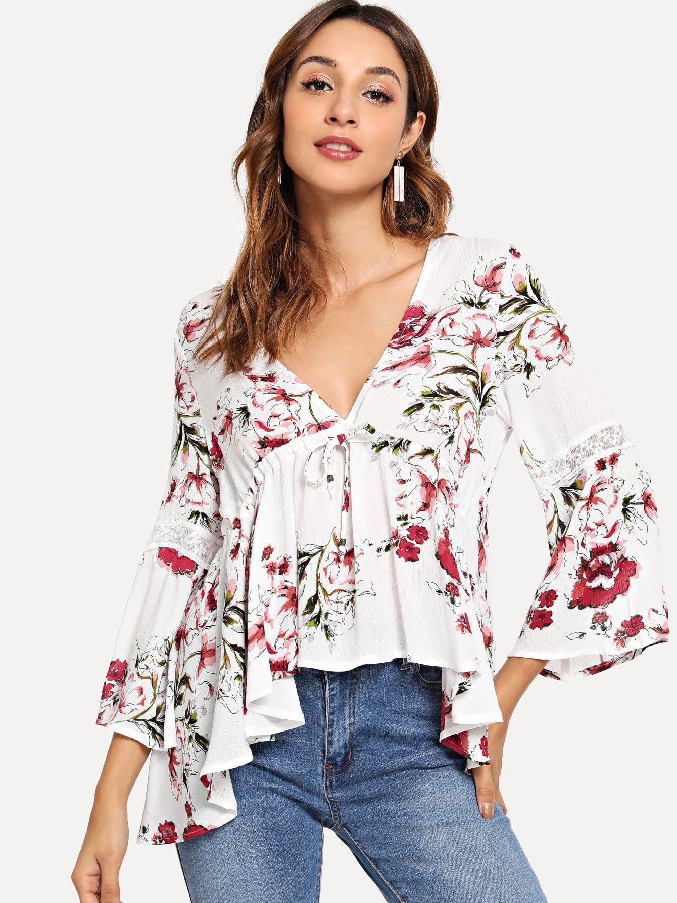 Купить Вставки сетки дизайн блузка с асимметричными оборками, Gabi B, SheIn