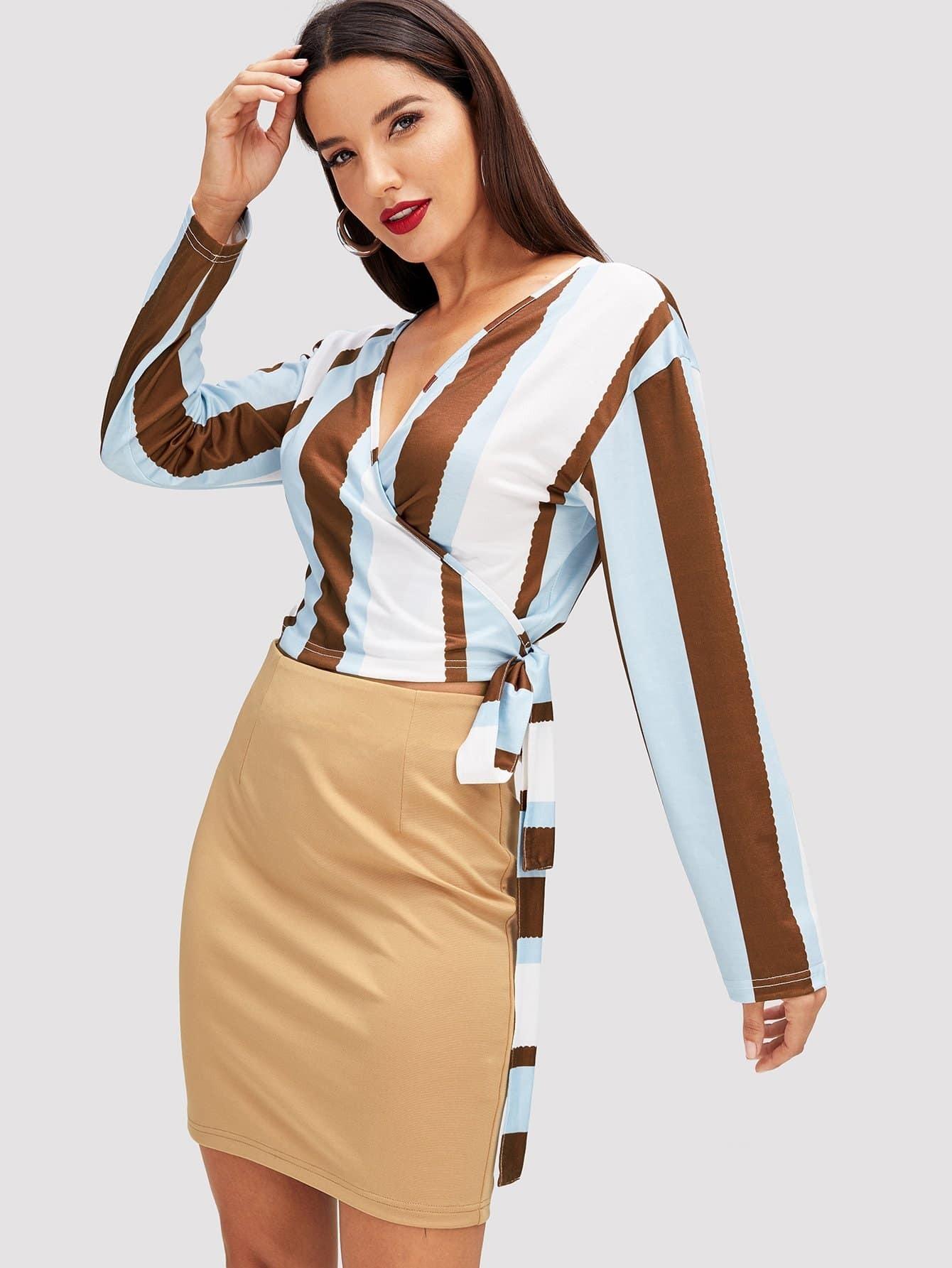 Купить Контрастная блуза с V-образным вырезом, Jana, SheIn