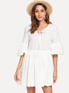 Flounce Sleeve Eyelet Embroidery Dress