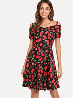 Cold Shoulder Cherry Print Dress