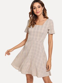 Square Neck Plaid Flare Dress