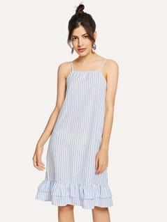 Pinstripe Tiered Ruffle Hem Cami Dress