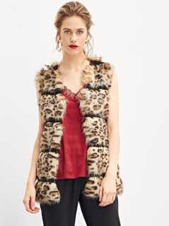 Soft Faux Fur Leopard Print Shell Coat