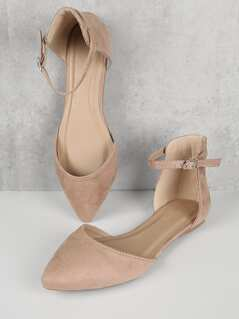 Faux Suede Ankle Strap Flats