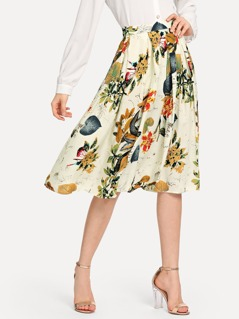 Tropical Print Pleated Skirt