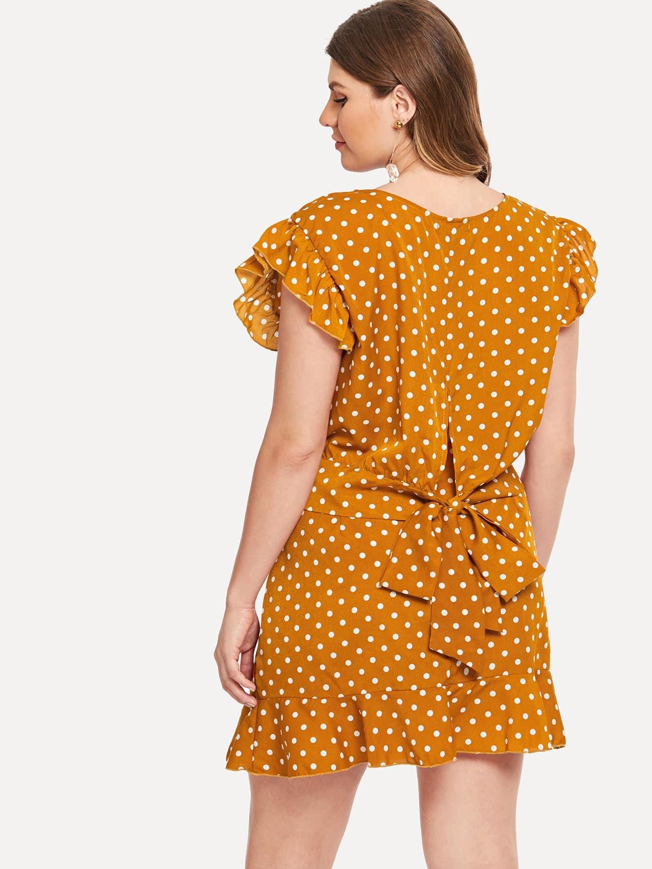 Купить Большая блузка с рисунками точки и юбка и подол с розеткой, Isabela, SheIn