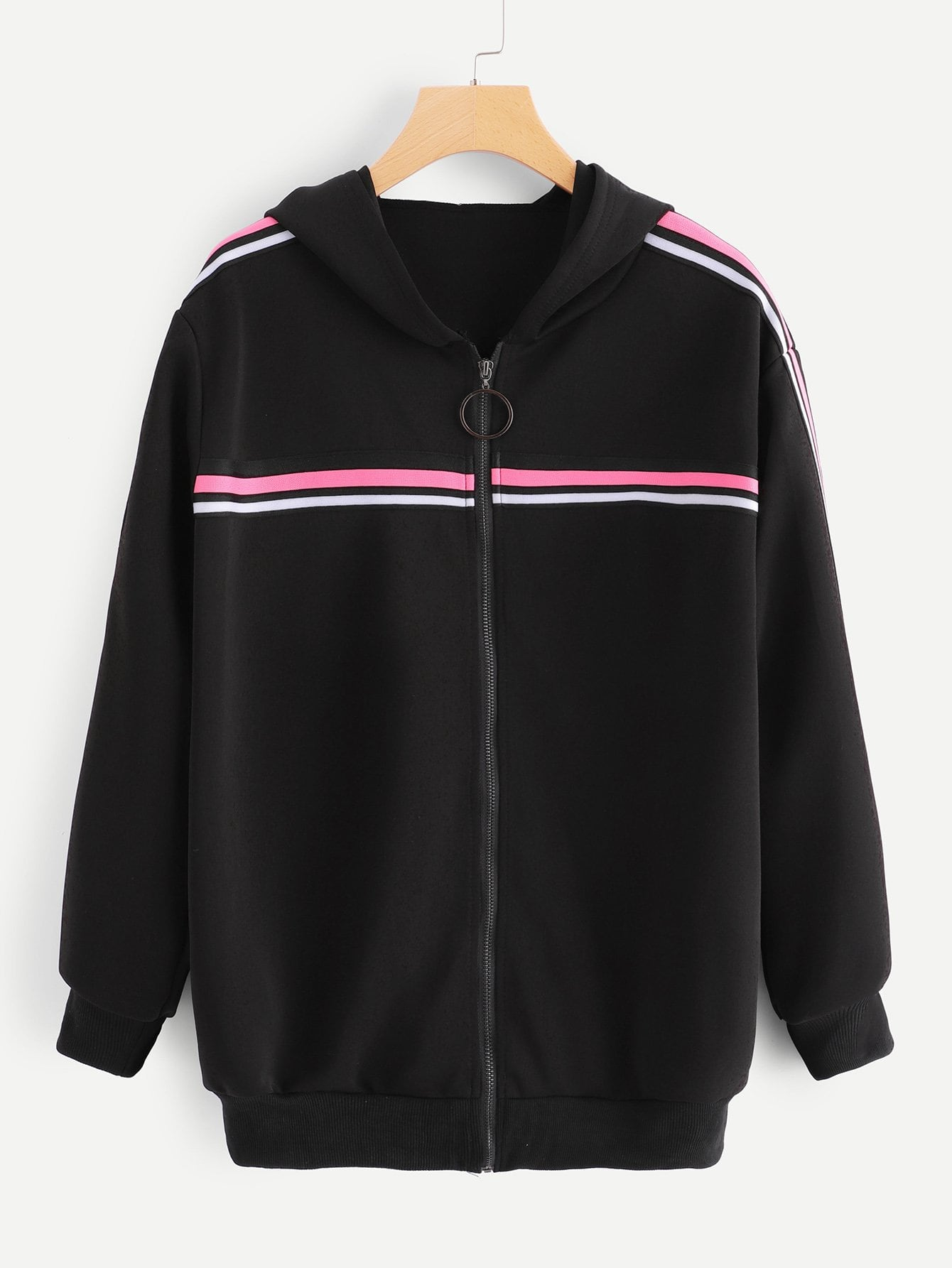 Plus Contrast Striped Side Coat