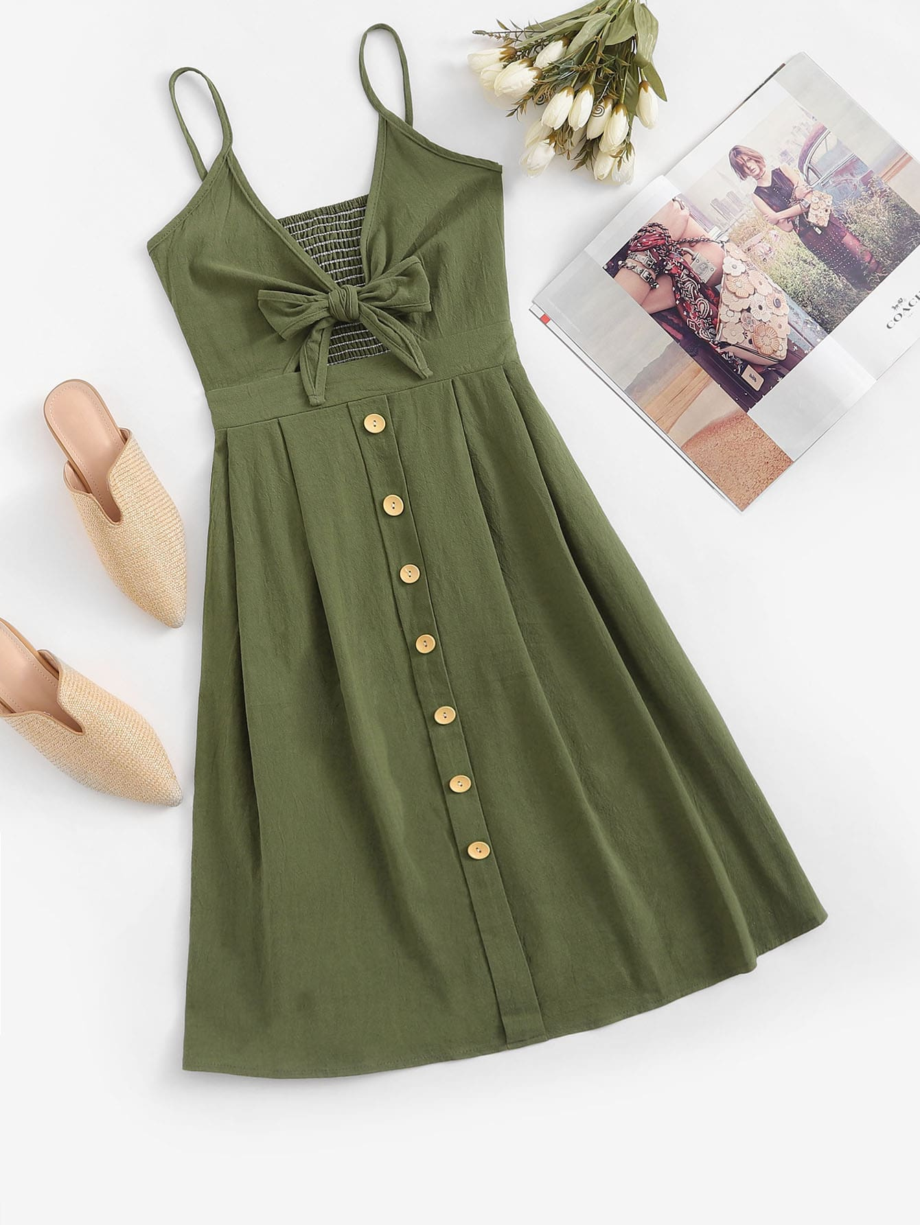 Single Breasted Front Knot Cami Dress