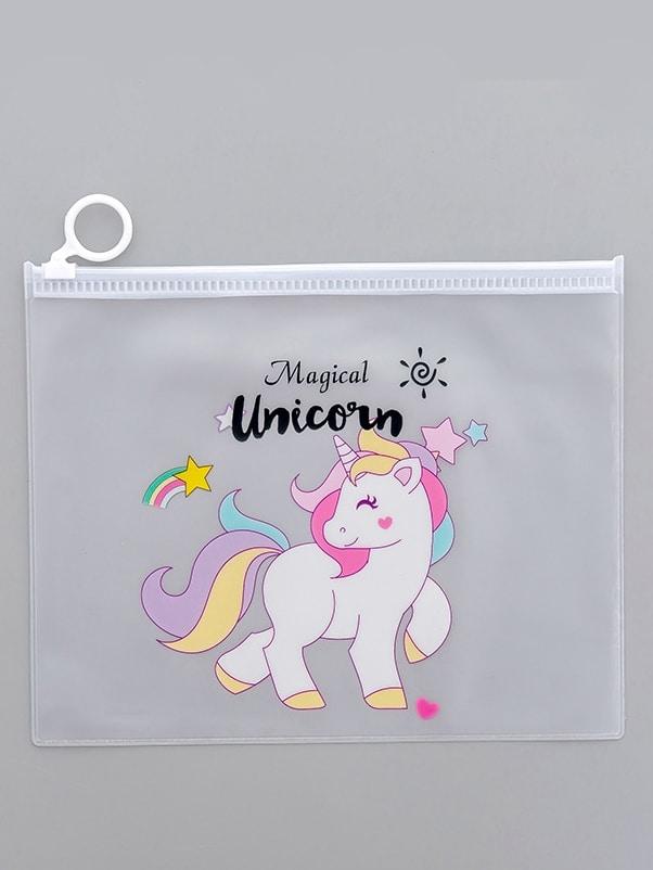 Unicorn Print Clear Pencil Bag