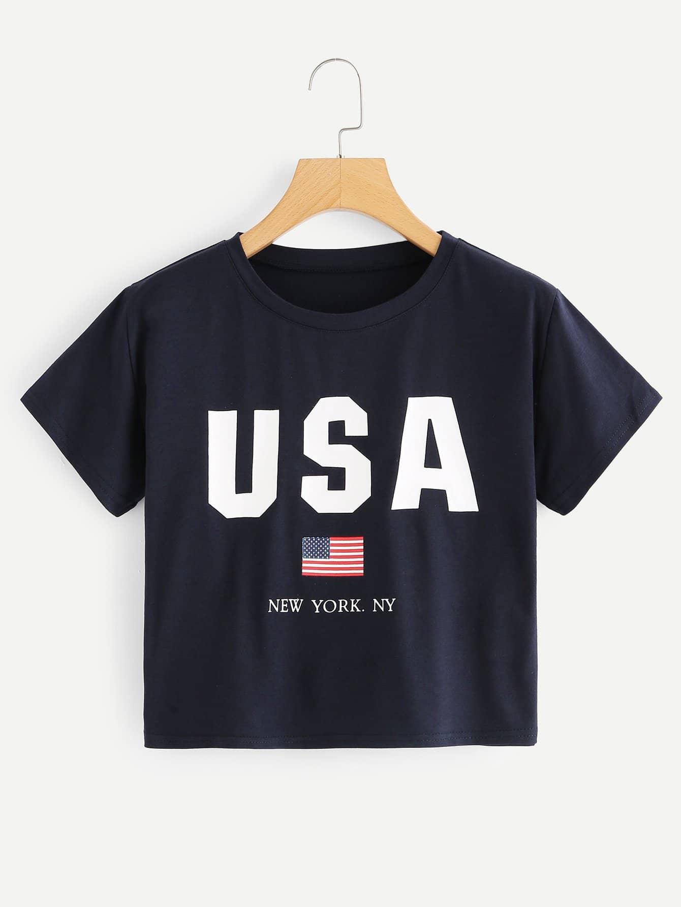 Crop T-Shirt mit amerikanischem Flaggemuster