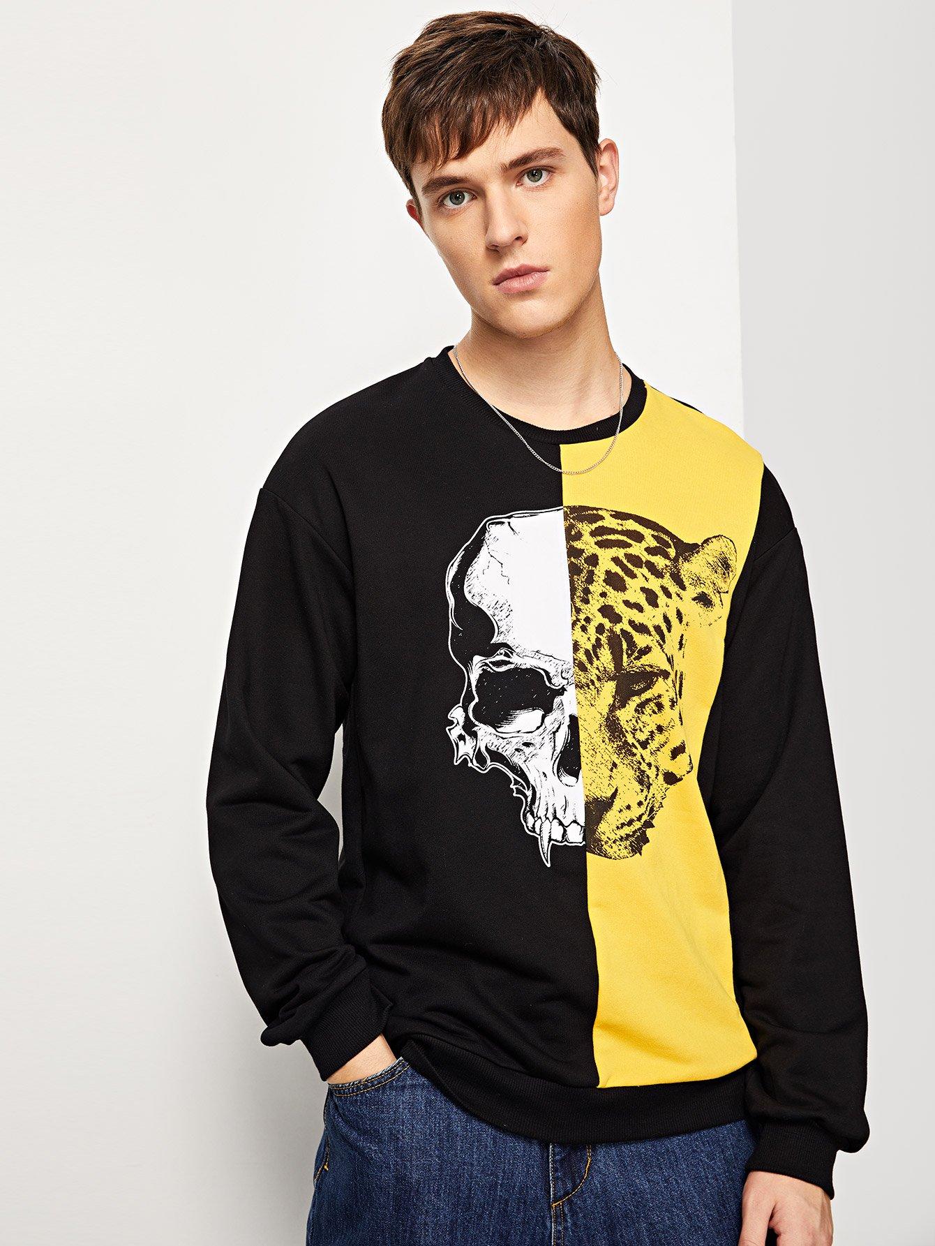 Купить Для мужчин пуловер со смешанным принтом, Vitaly, SheIn