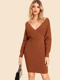 Double V Neck Slim Fitted Batwing Knit Dress
