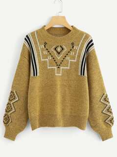 Bishop Sleeve Geo Print Sweater