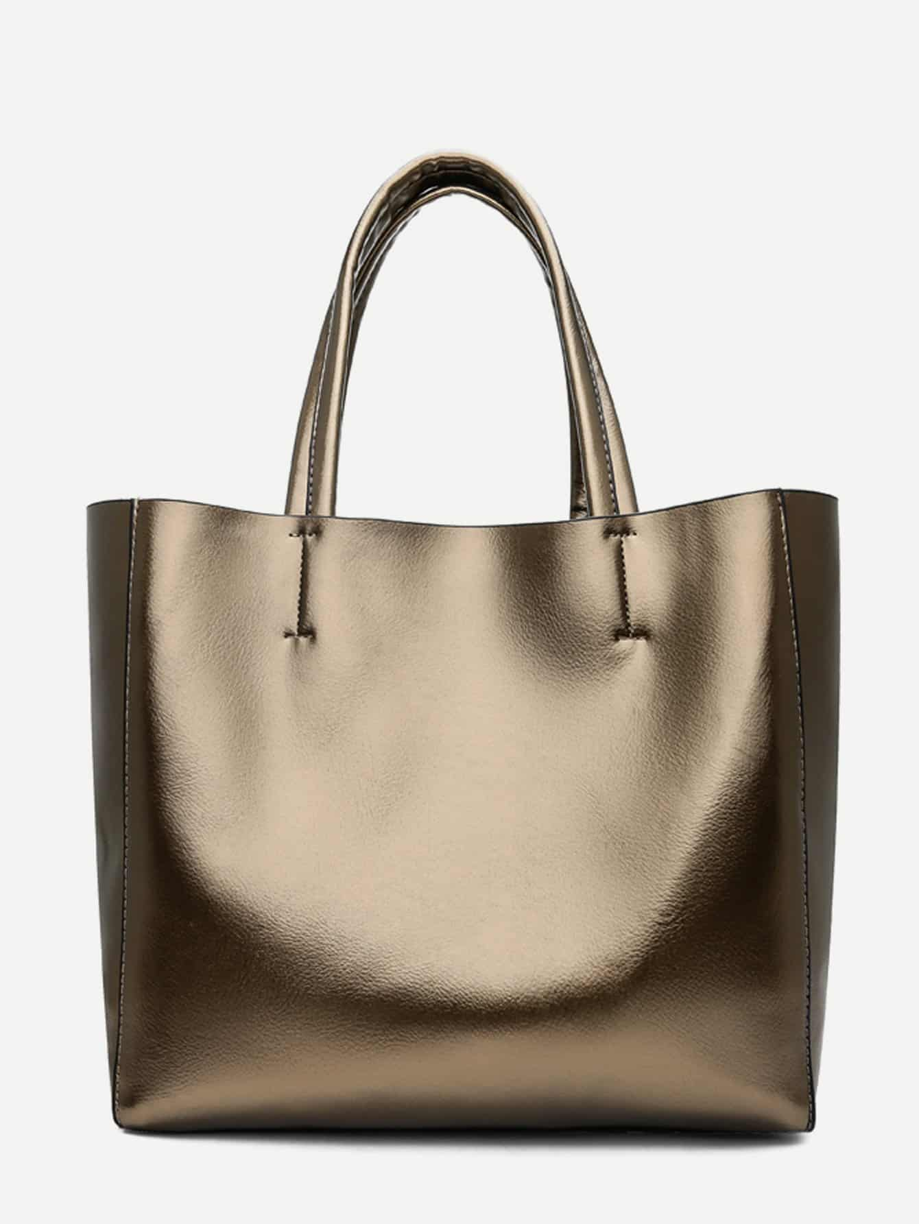 Купить Сумочка металлического цвета с внутренной сумкой, null, SheIn