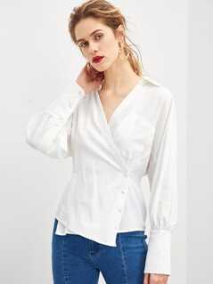 Button Front Wrap Shirt