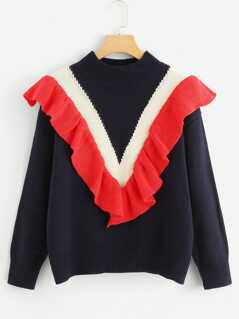 Ruffle Detail Color Block Jumper