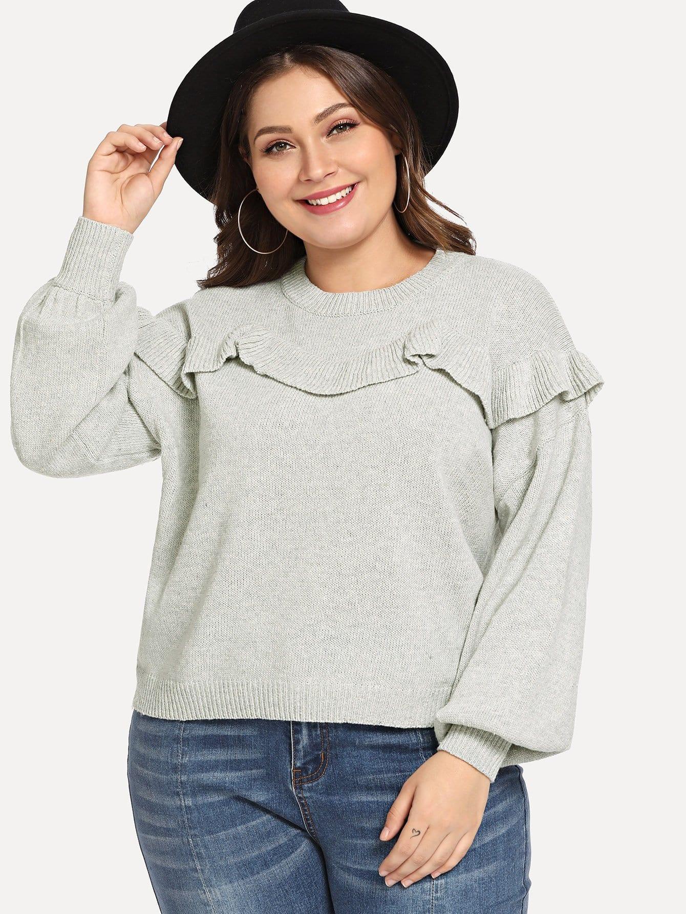 Купить Плюс размеры туника свитер с отделкой оборкой, Carol, SheIn