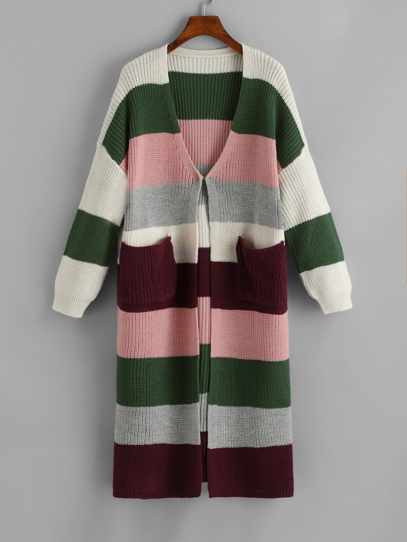 Купить Контрастный свитер с карманом, null, SheIn