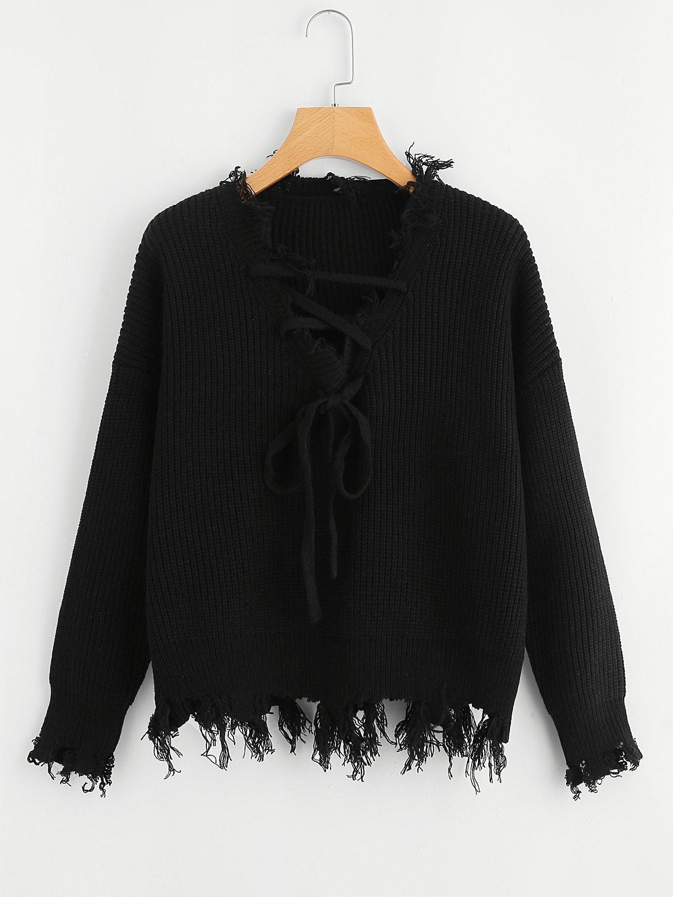 Купить Твердый свитер спереди бант, null, SheIn