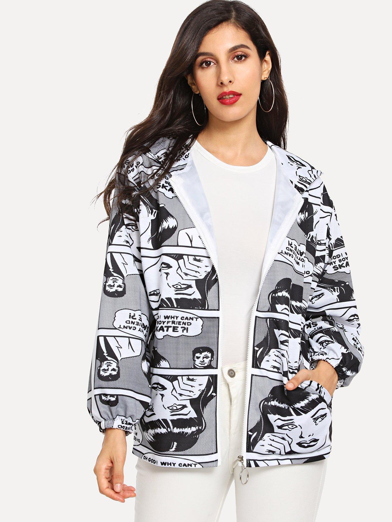 Купить Пальто с капюшоном и графическим принтом, Jeane, SheIn