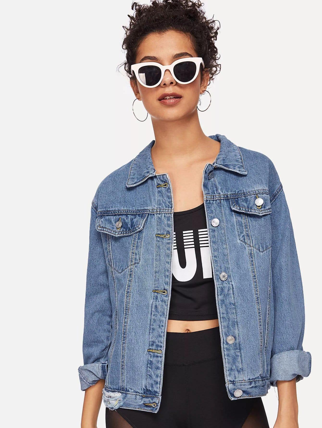 Купить Рваная джинсовая ветровка, Starl Lane, SheIn