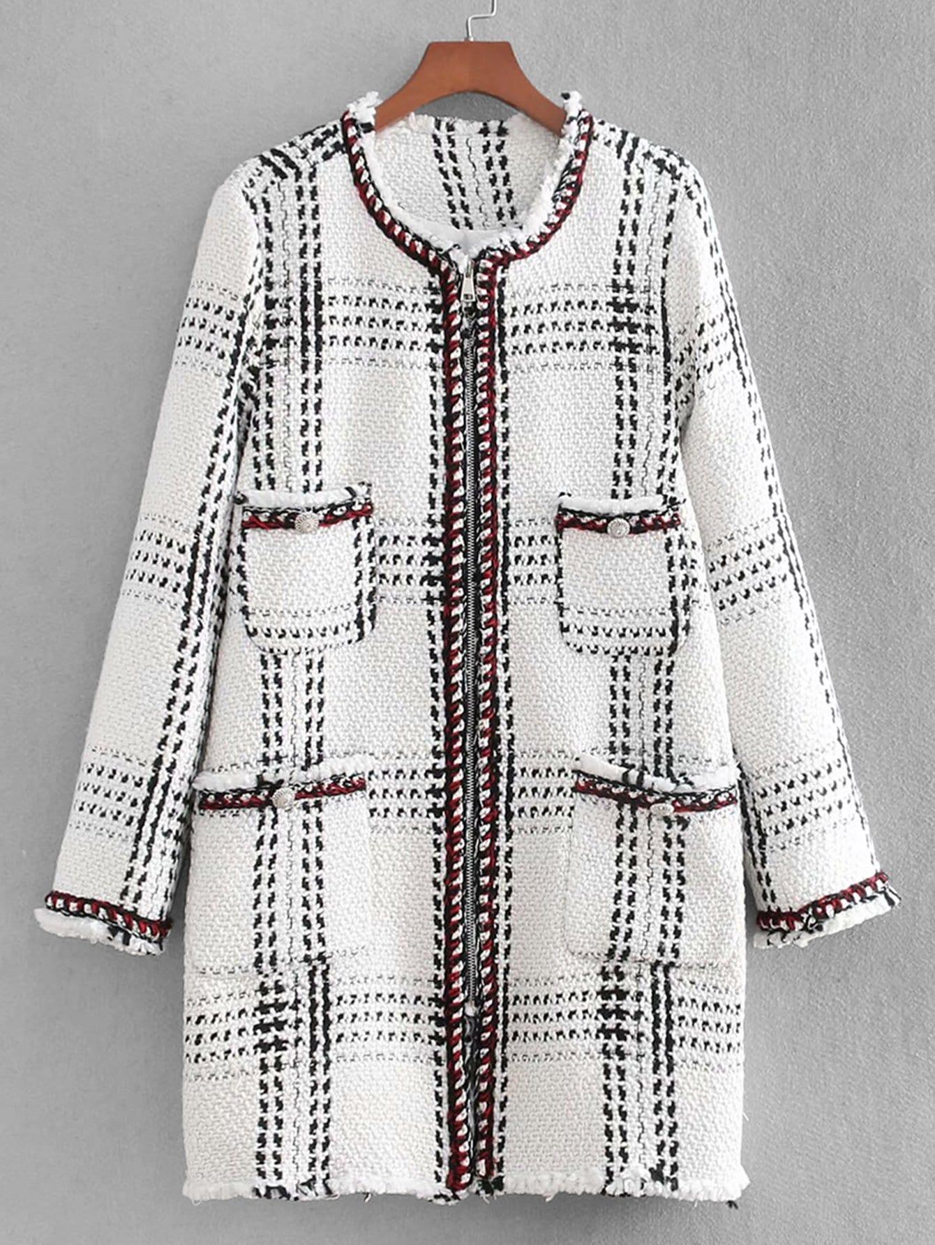 Купить Пальто из твида с застёжкой молния и кружевными оборками, null, SheIn