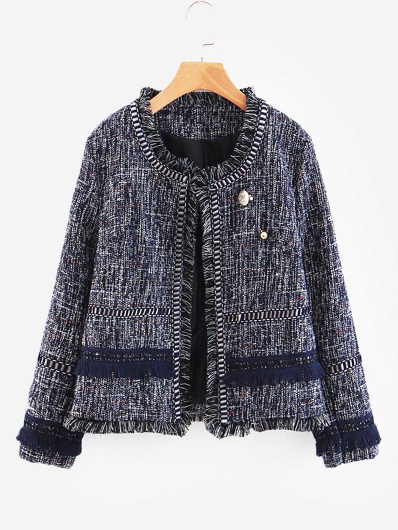 Купить Пальто из твида с кружевными оборками и брошкой жемчугов, null, SheIn