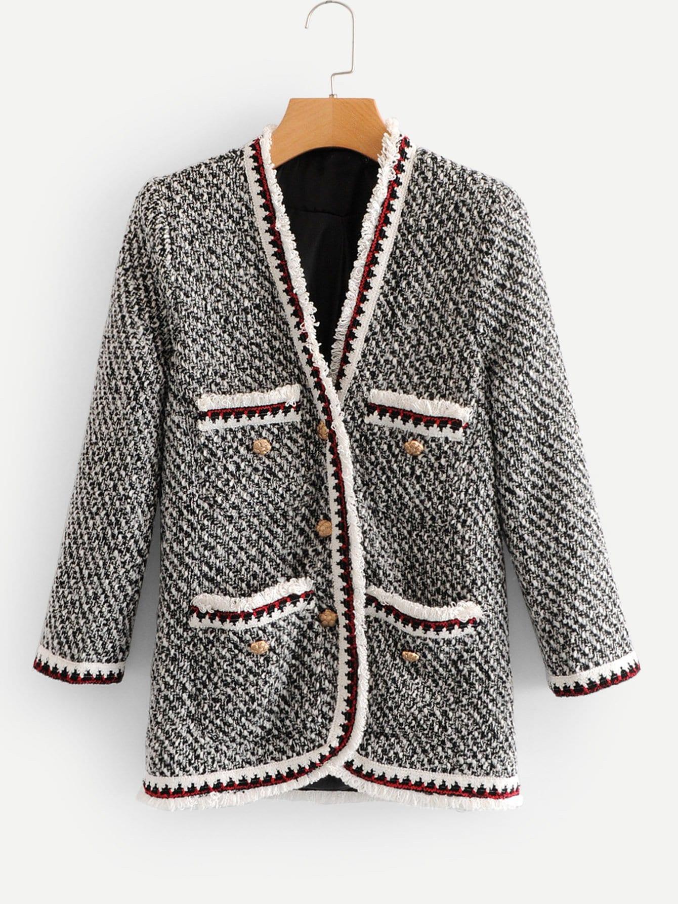 Купить Пальто из твида с контрастными оторочками, null, SheIn