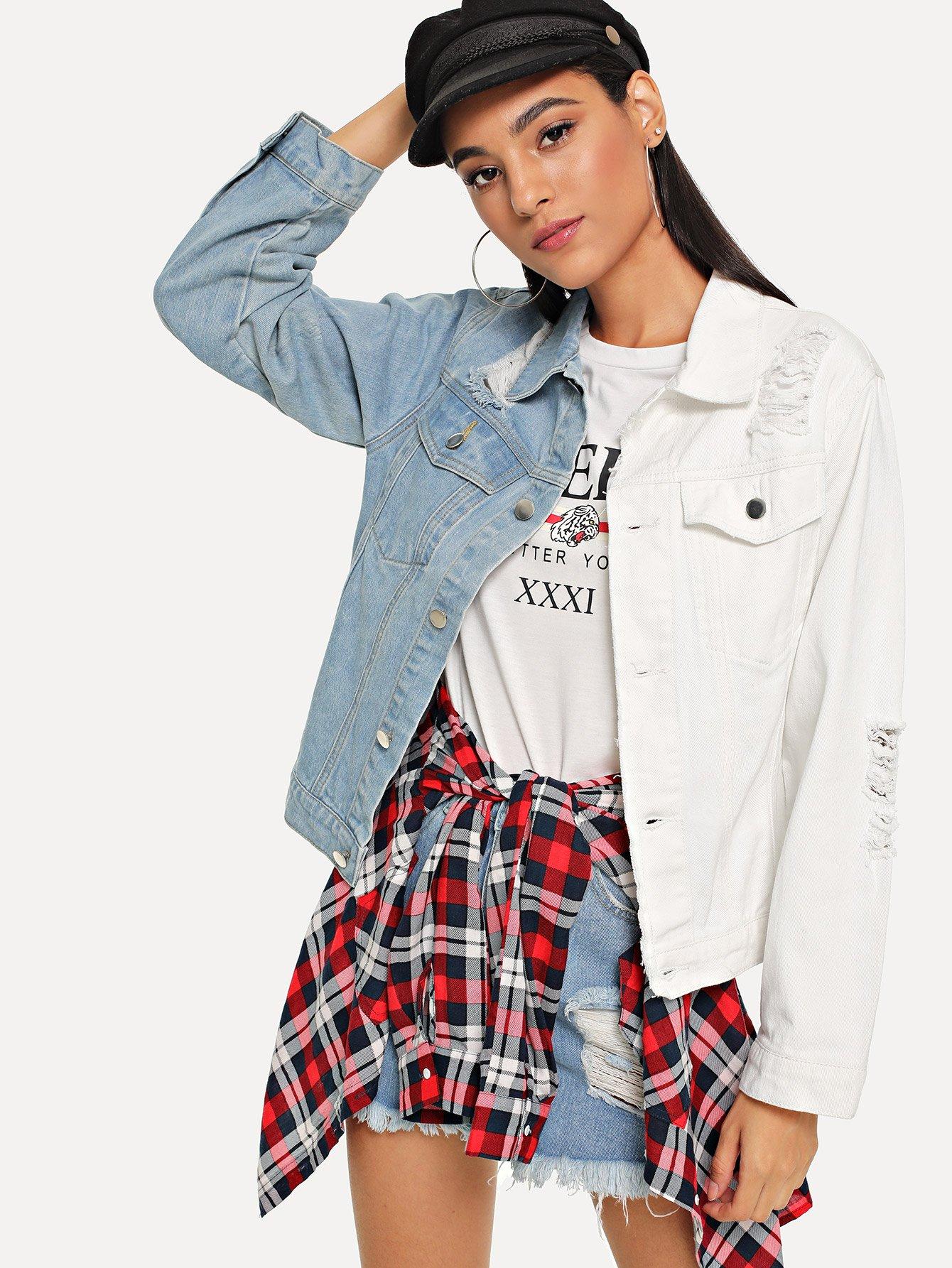 Купить Два тона джинсовая куртка, Kary, SheIn