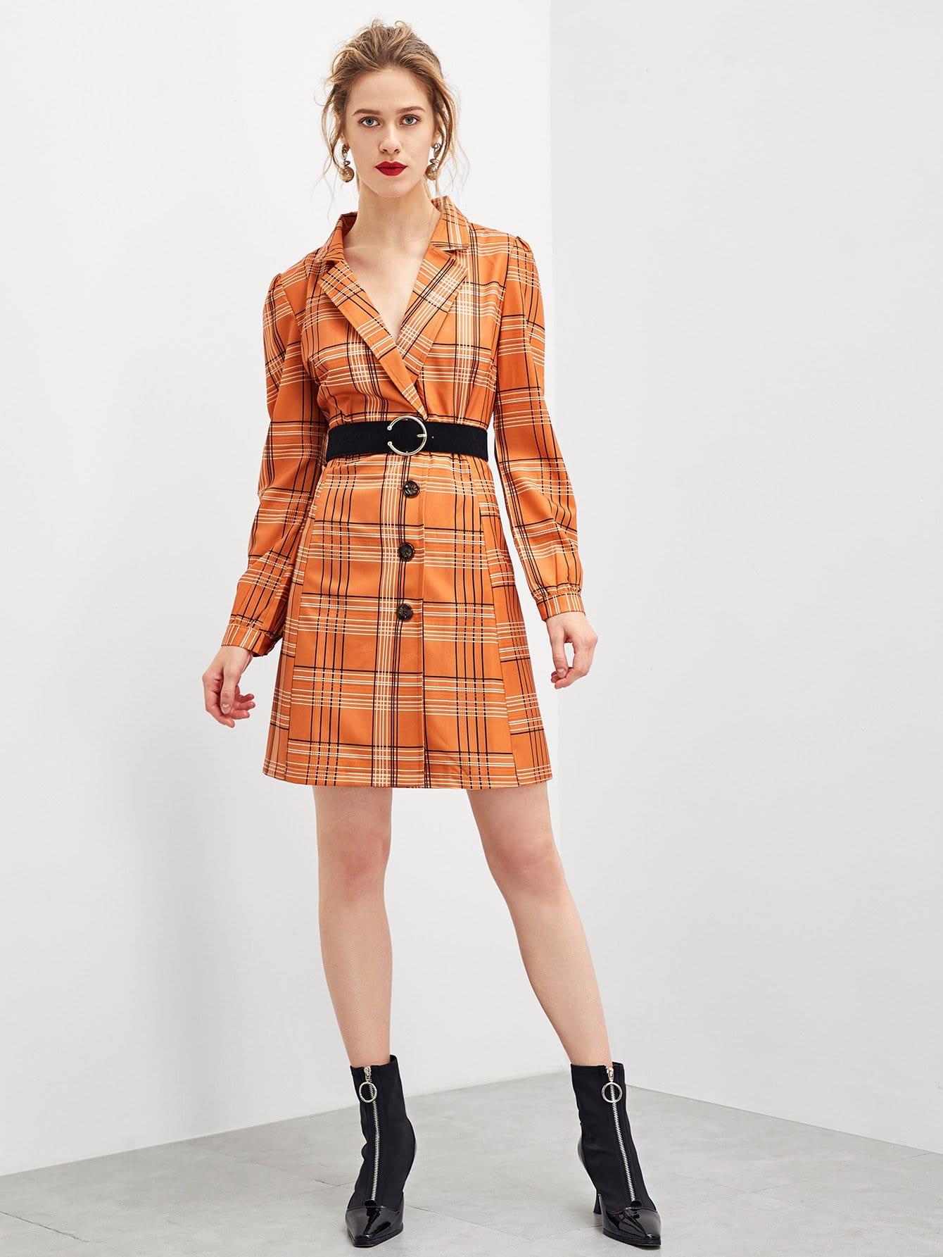 Купить Платье в клетку с поясом и украшением пуговицы, Victoriab, SheIn
